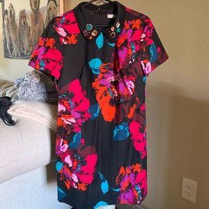 Trina Turk Floral Jeweled Shift Dress. Size:12
